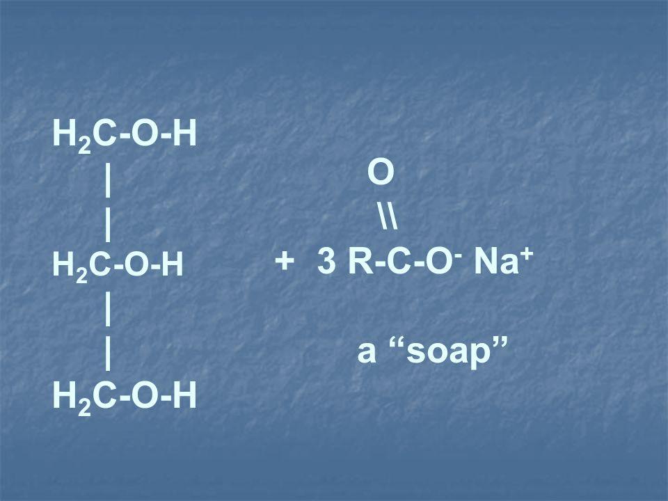 H 2 C-O-H | H 2 C-O-H | H 2 C-O-H O \\ + 3 R-C-O - Na + a soap