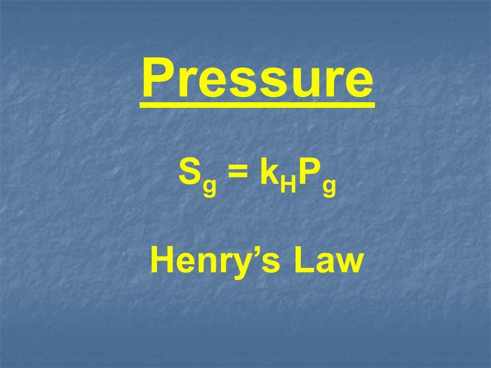 Pressure S g = k H P g Henrys Law