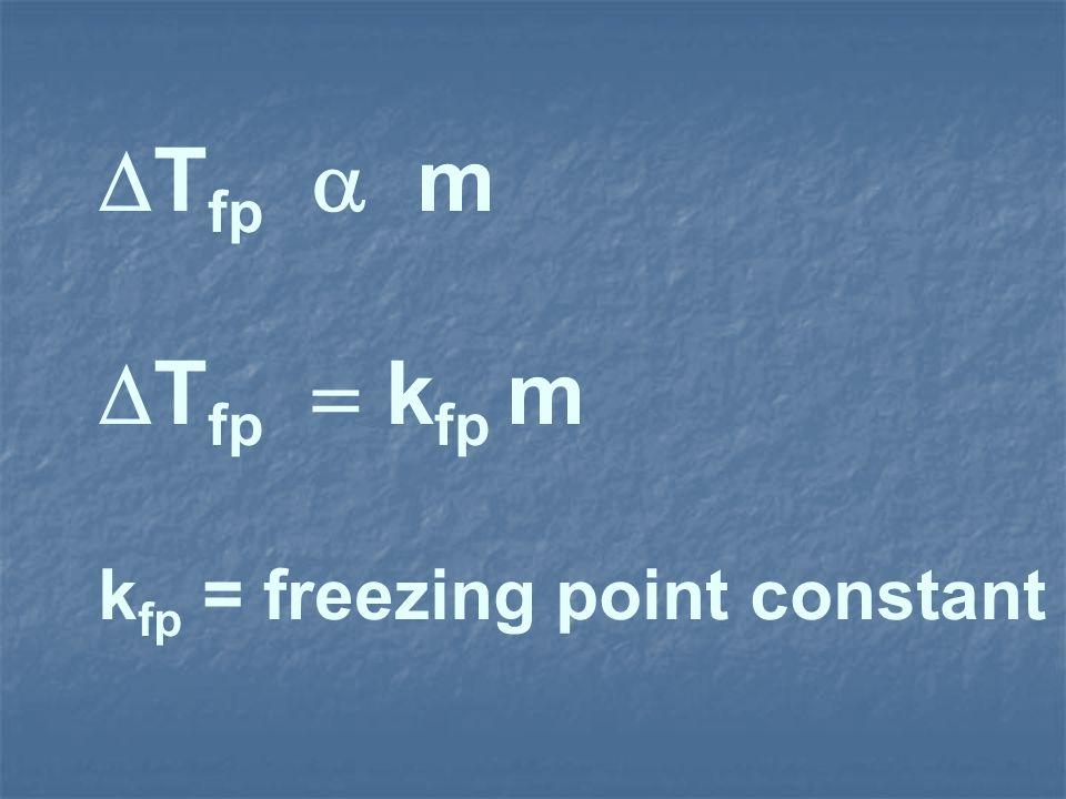 T fp k fp m k fp = freezing point constant