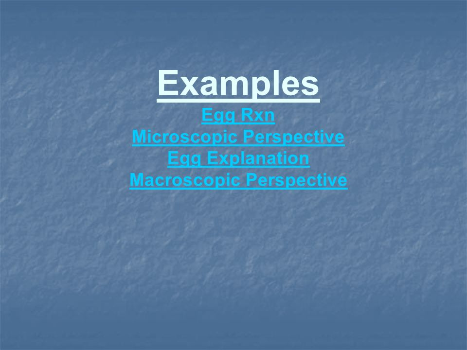 Examples Egg Rxn Microscopic Perspective Egg Explanation Macroscopic Perspective