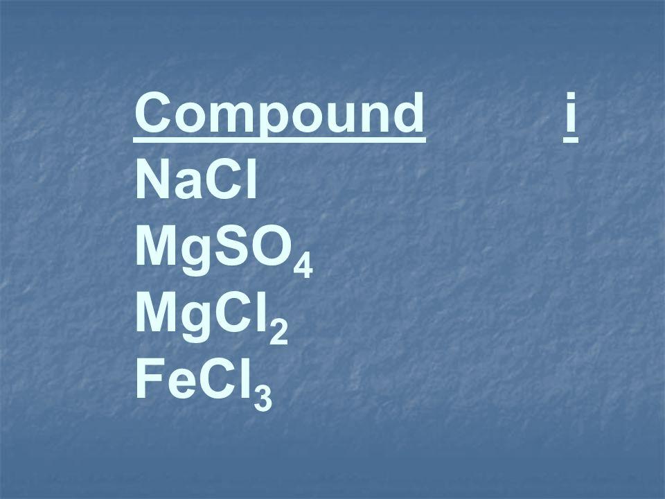 Compound i NaCl MgSO 4 MgCl 2 FeCl 3