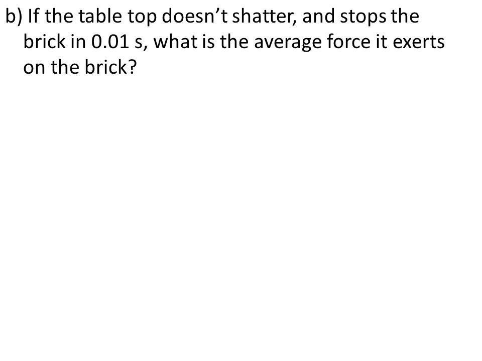 b) If the table top doesnt shatter, and stops the brick in 0.01 s, what is the average force it exerts on the brick?