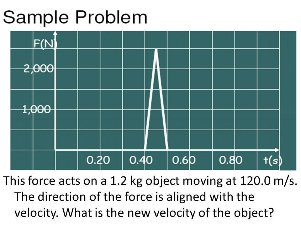 This force acts on a 1.2 kg object moving at 120.0 m/s. The direction of the force is aligned with the velocity. What is the new velocity of the objec