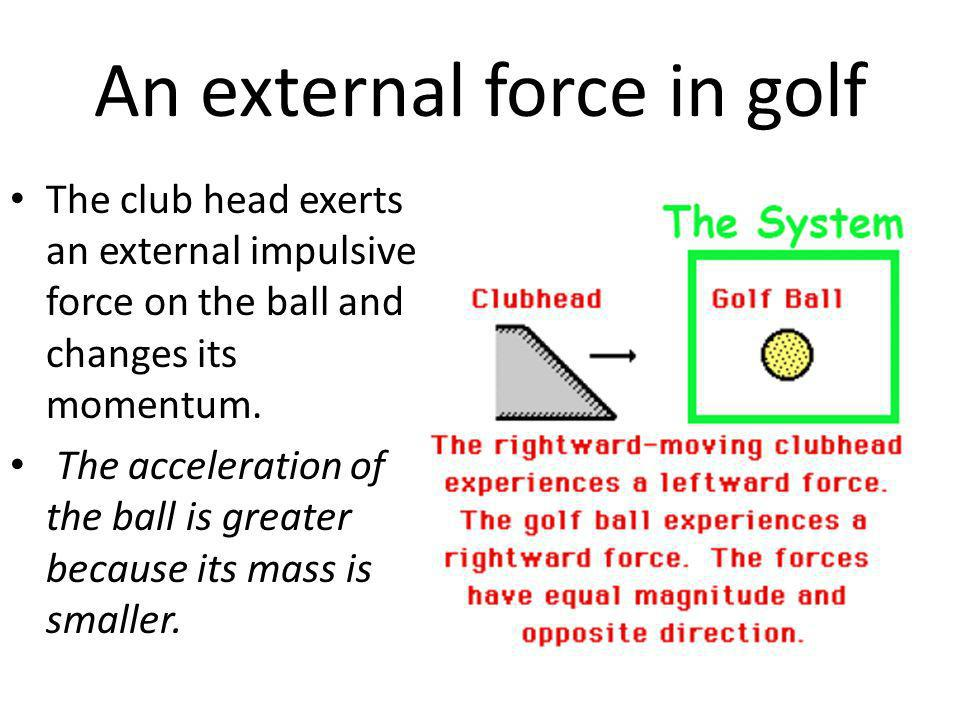An external force in golf The club head exerts an external impulsive force on the ball and changes its momentum. The acceleration of the ball is great