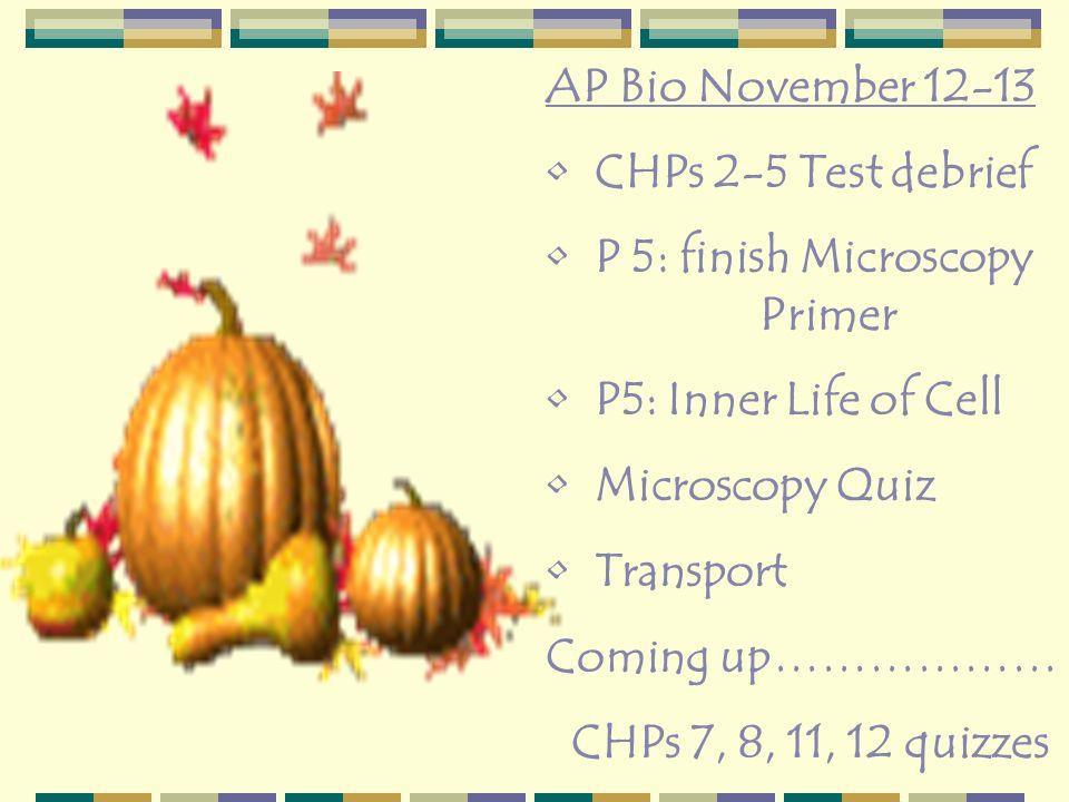 AP Bio November 12-13 CHPs 2-5 Test debrief P 5: finish Microscopy Primer P5: Inner Life of Cell Microscopy Quiz Transport Coming up……………… CHPs 7, 8,
