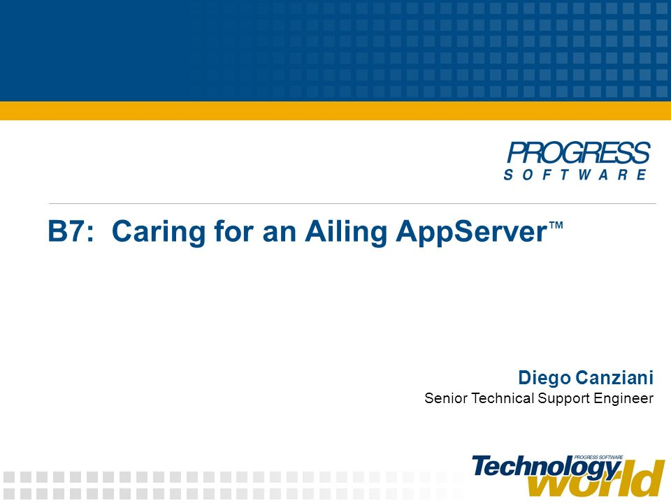 B7: Caring for an Ailing AppServer Diego Canziani Senior Technical Support Engineer