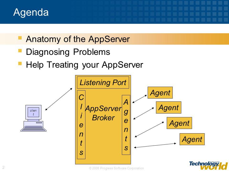© 2008 Progress Software Corporation 2 Agenda Anatomy of the AppServer Diagnosing Problems Help Treating your AppServer AppServer Broker ClientsClient
