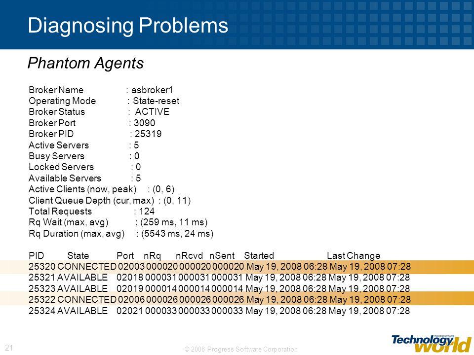 © 2008 Progress Software Corporation 21 Diagnosing Problems Broker Name : asbroker1 Operating Mode : State-reset Broker Status : ACTIVE Broker Port :