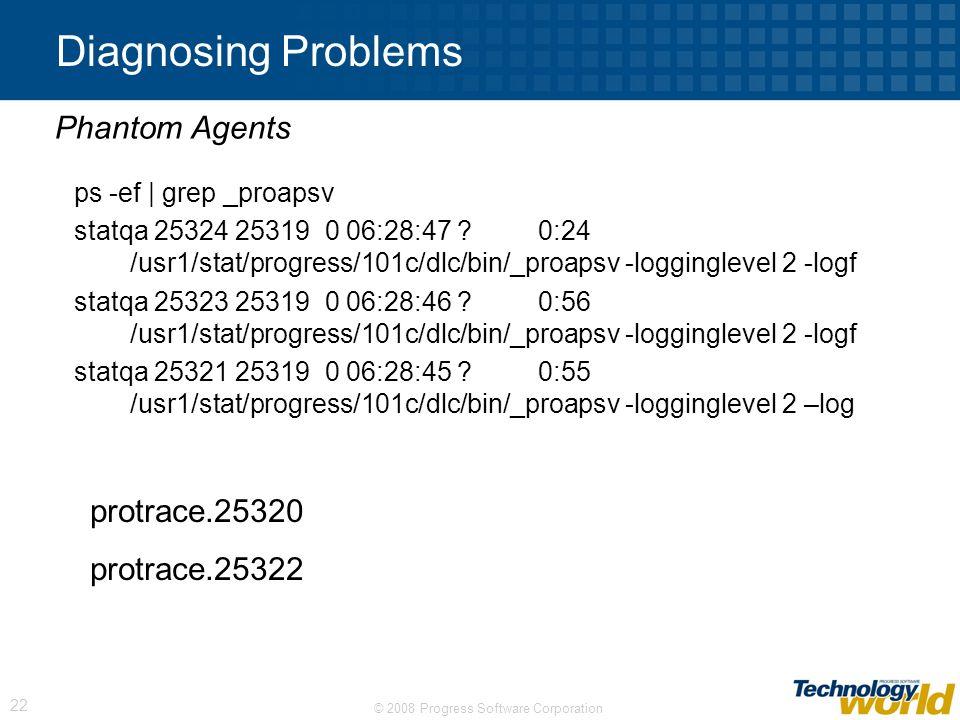 © 2008 Progress Software Corporation 22 Diagnosing Problems ps -ef | grep _proapsv statqa 25324 25319 0 06:28:47 ? 0:24 /usr1/stat/progress/101c/dlc/b