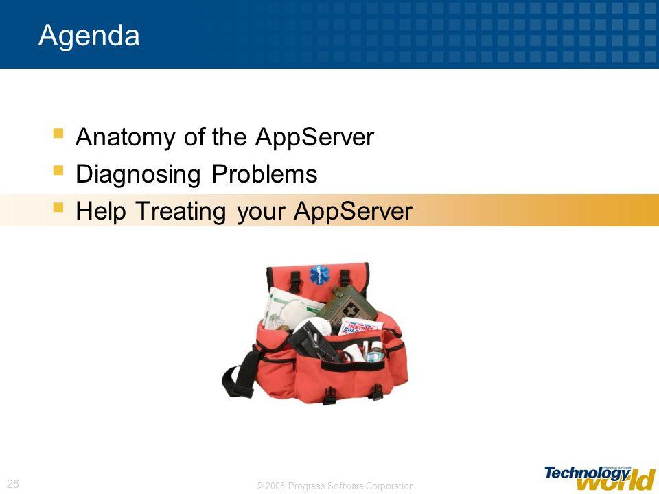 © 2008 Progress Software Corporation 26 Agenda Anatomy of the AppServer Diagnosing Problems Help Treating your AppServer