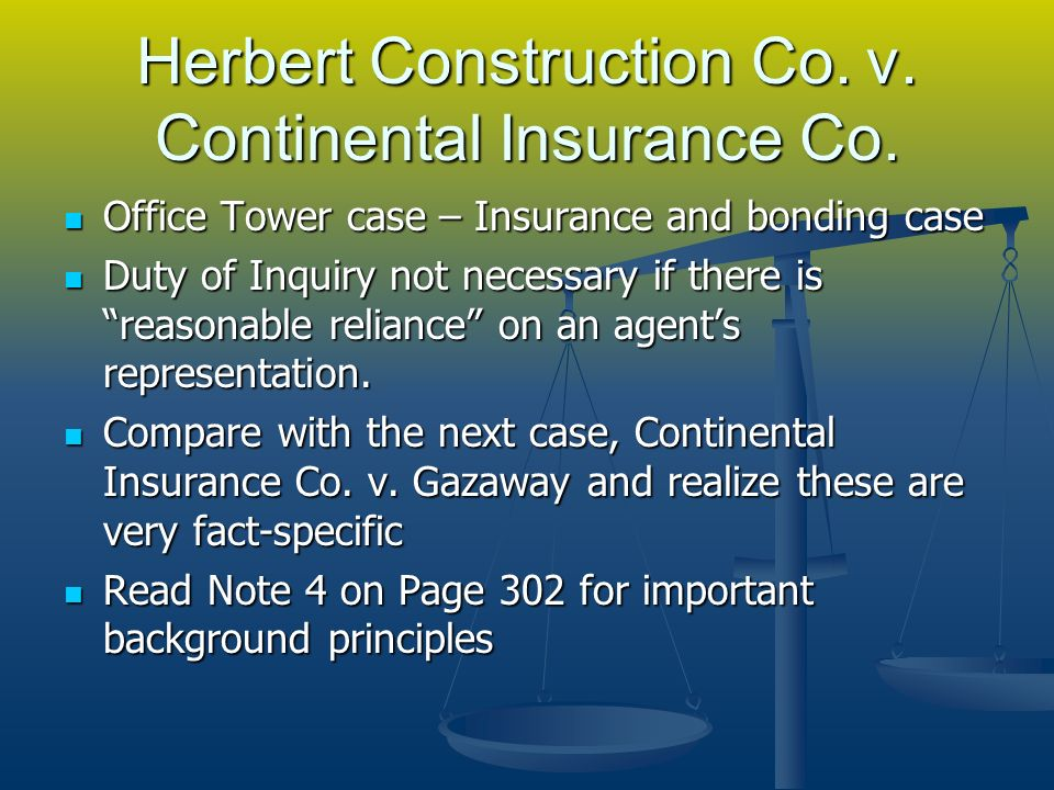 Herbert Construction Co. v. Continental Insurance Co.