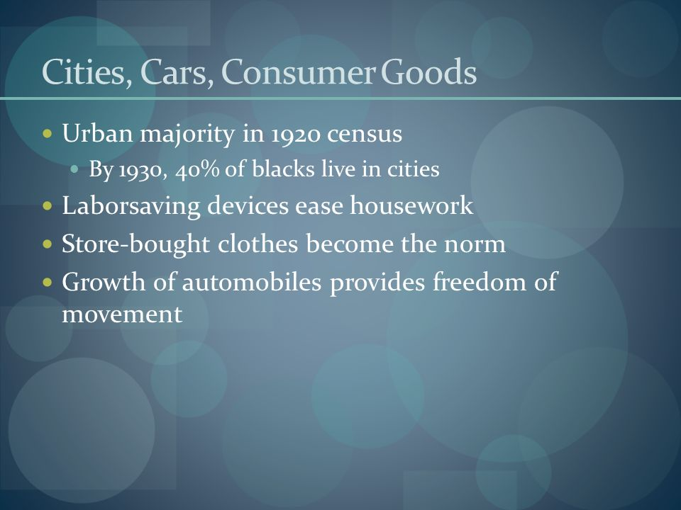 Cities, Cars, Consumer Goods Urban majority in 1920 census By 1930, 40% of blacks live in cities Laborsaving devices ease housework Store-bought cloth