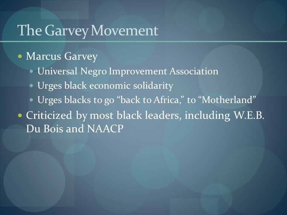 The Garvey Movement Marcus Garvey Universal Negro Improvement Association Urges black economic solidarity Urges blacks to go back to Africa, to Mother