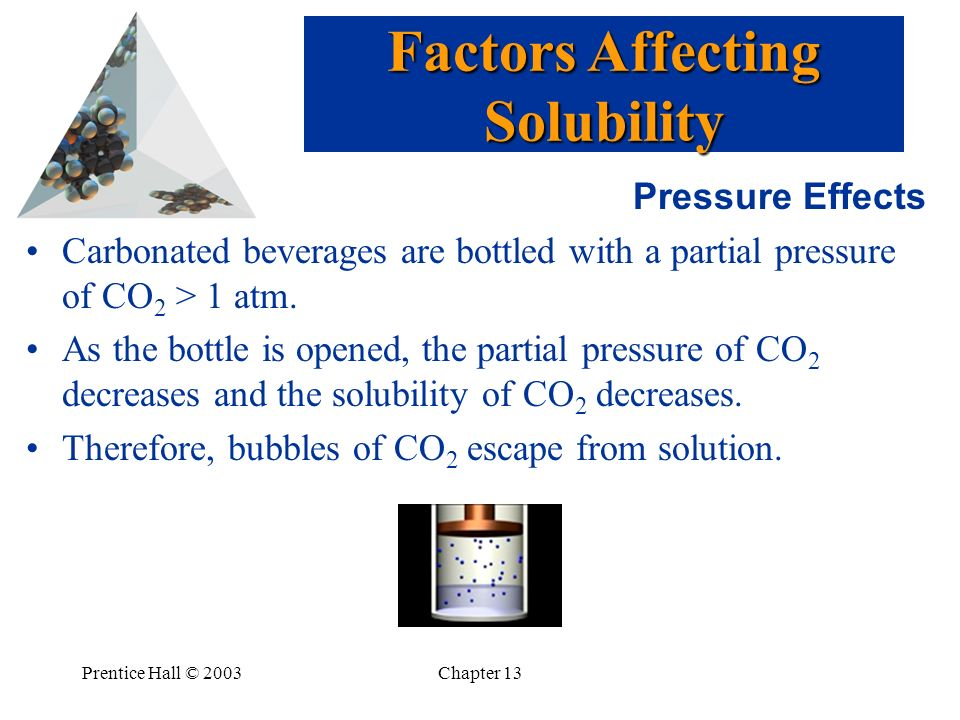 Prentice Hall © 2003Chapter 13 Pressure Effects Carbonated beverages are bottled with a partial pressure of CO 2 > 1 atm. As the bottle is opened, the