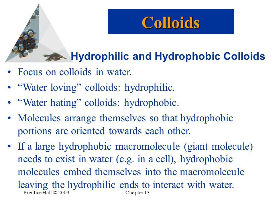 Prentice Hall © 2003Chapter 13 Hydrophilic and Hydrophobic Colloids Focus on colloids in water. Water loving colloids: hydrophilic. Water hating collo