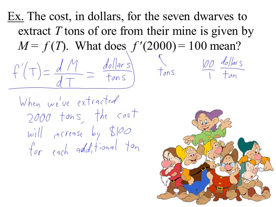 Ex. The cost, in dollars, for the seven dwarves to extract T tons of ore from their mine is given by M = f (T). What does f (2000) = 100 mean?