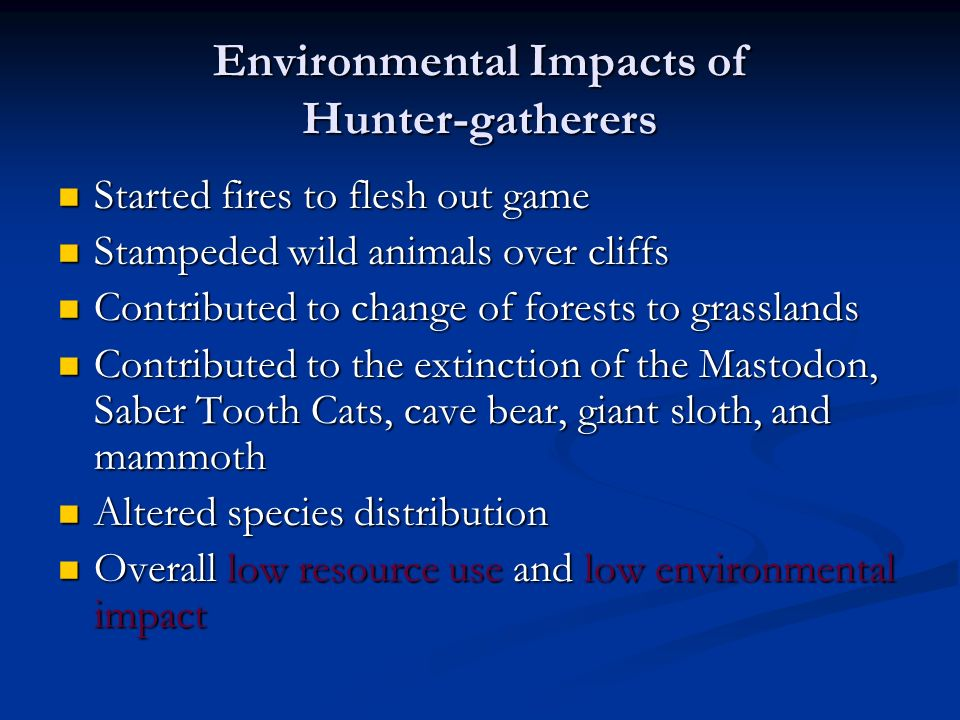 Environmental Impacts of Hunter-gatherers Started fires to flesh out game Started fires to flesh out game Stampeded wild animals over cliffs Stampeded