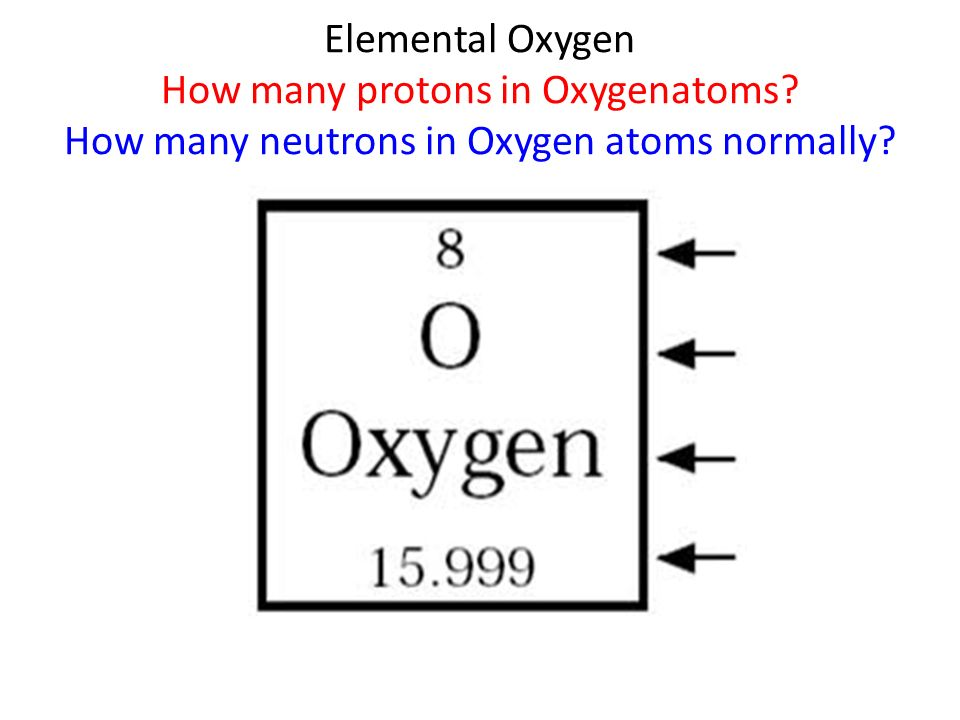 Elemental Oxygen How many protons in Oxygenatoms? How many neutrons in Oxygen atoms normally?