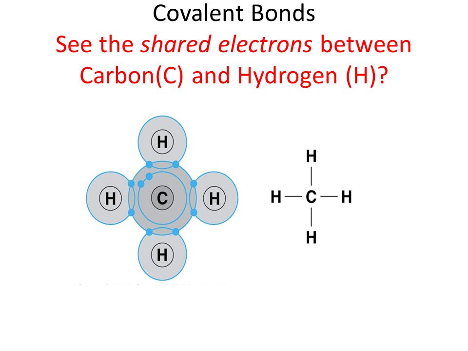Covalent Bonds See the shared electrons between Carbon(C) and Hydrogen (H)?