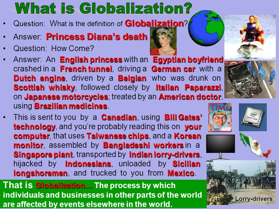 GlobalizationQ uestion : W hat is the definition of Globalization .