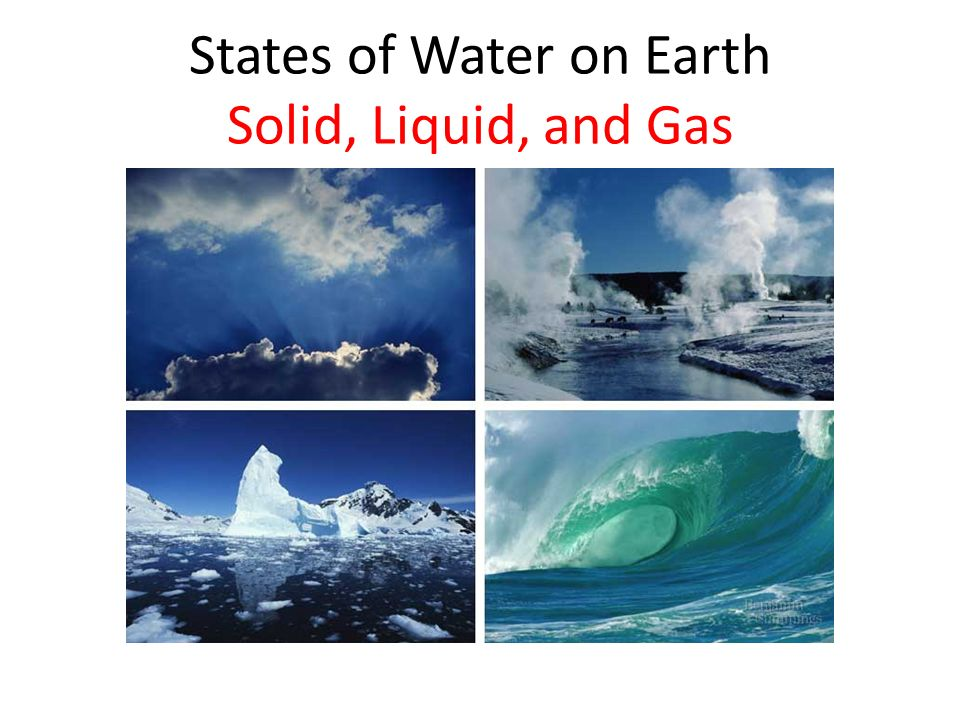 States of Water on Earth Solid, Liquid, and Gas
