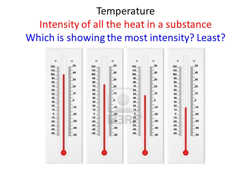Temperature Intensity of all the heat in a substance Which is showing the most intensity? Least?
