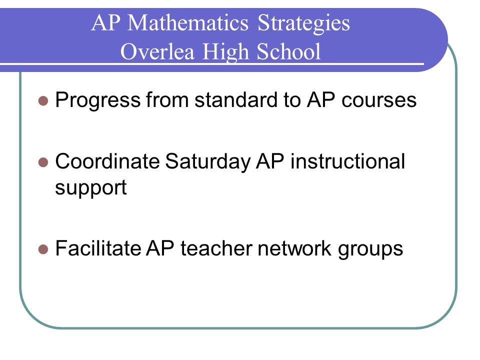 AP Mathematics Strategies Overlea High School Progress from standard to AP courses Coordinate Saturday AP instructional support Facilitate AP teacher