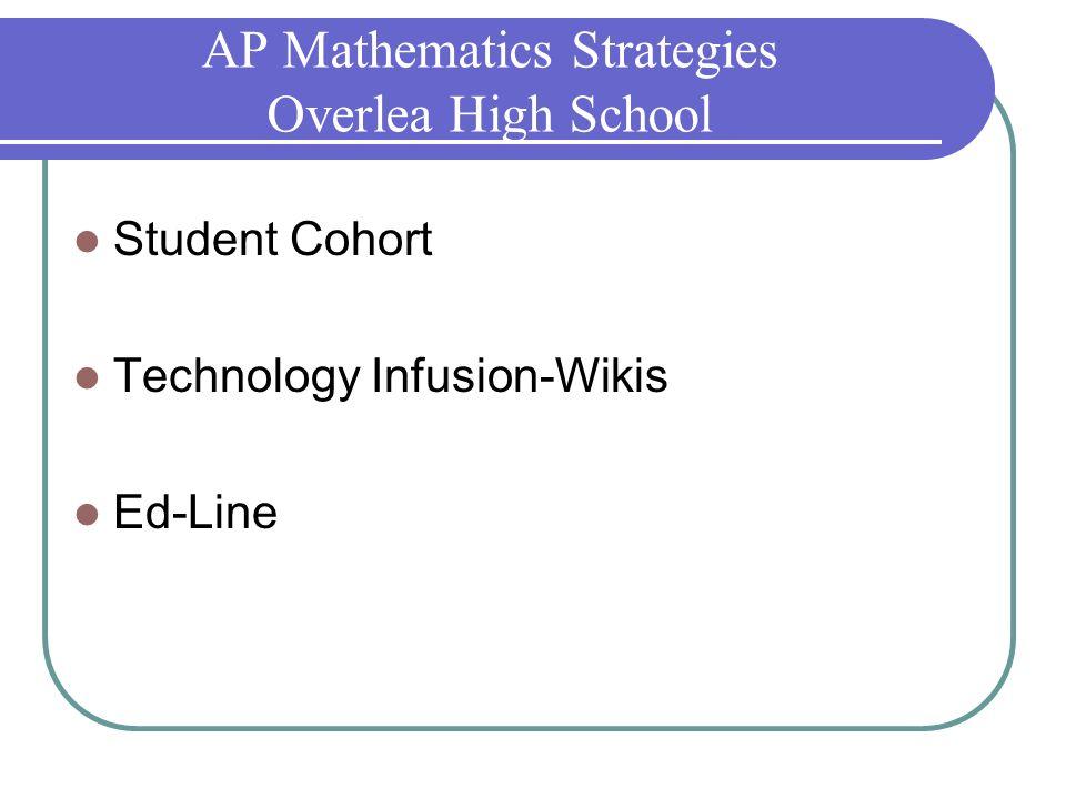 AP Mathematics Strategies Overlea High School Student Cohort Technology Infusion-Wikis Ed-Line