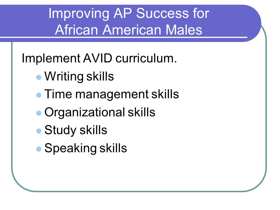 Improving AP Success for African American Males Implement AVID curriculum. Writing skills Time management skills Organizational skills Study skills Sp