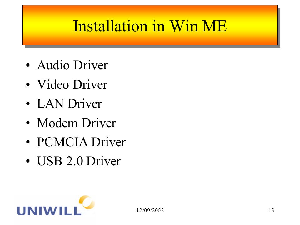 12/09/200219 Installation in Win ME Audio Driver Video Driver LAN Driver Modem Driver PCMCIA Driver USB 2.0 Driver