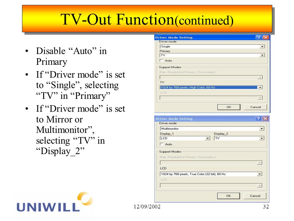 12/09/200232 TV-Out Function (continued) Disable Auto in Primary If Driver mode is set to Single, selecting TV in Primary If Driver mode is set to Mirror or Multimonitor, selecting TV in Display_2