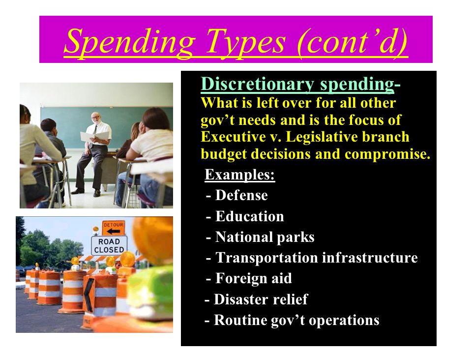 Spending Types (contd) Discretionary spending- What is left over for all other govt needs and is the focus of Executive v. Legislative branch budget d