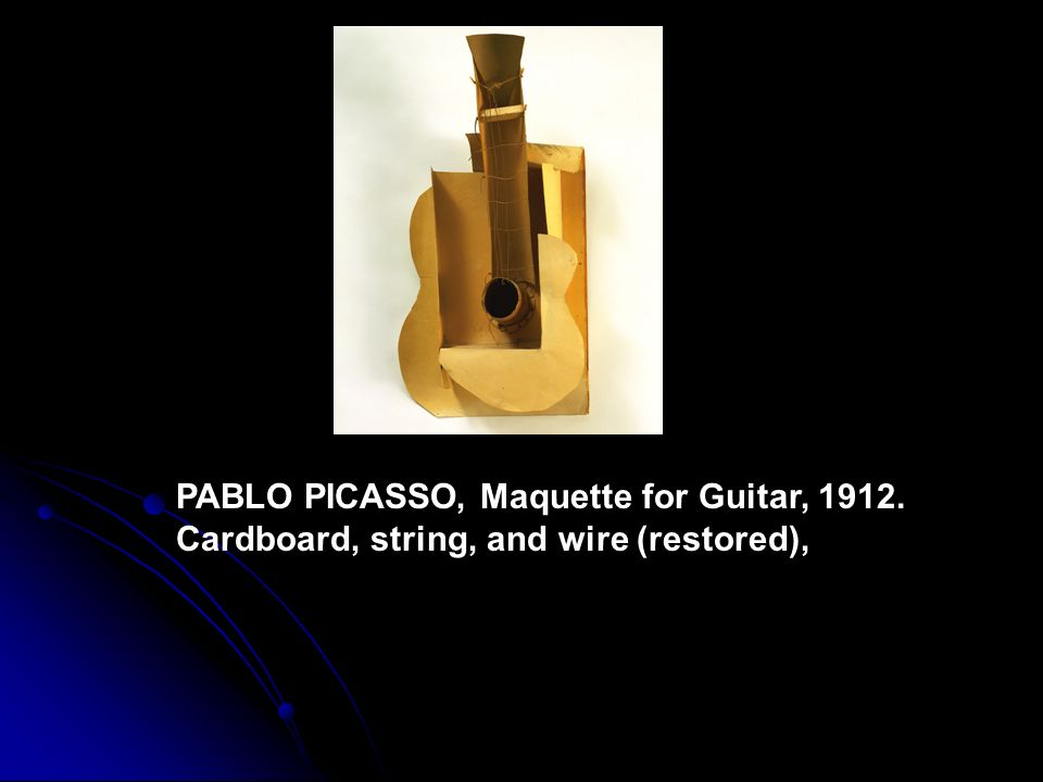 PABLO PICASSO, Maquette for Guitar, 1912. Cardboard, string, and wire (restored),