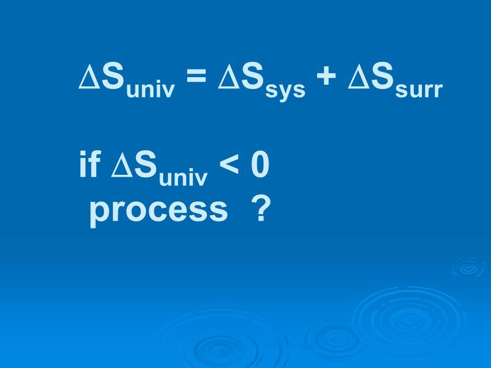 S univ = S sys + S surr if S univ < 0 process ?