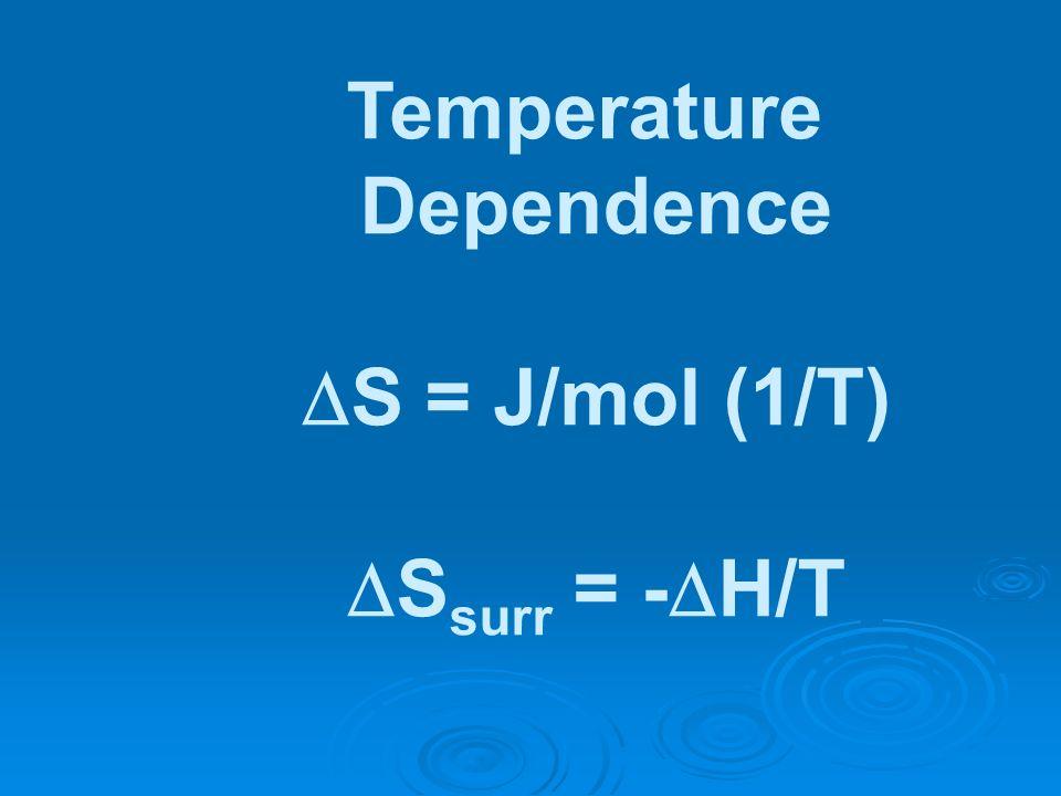Temperature Dependence S = J/mol (1/T) S surr = - H/T