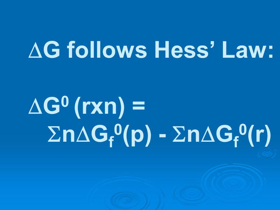 G follows Hess Law: G 0 (rxn) = n G f 0 (p) - n G f 0 (r)