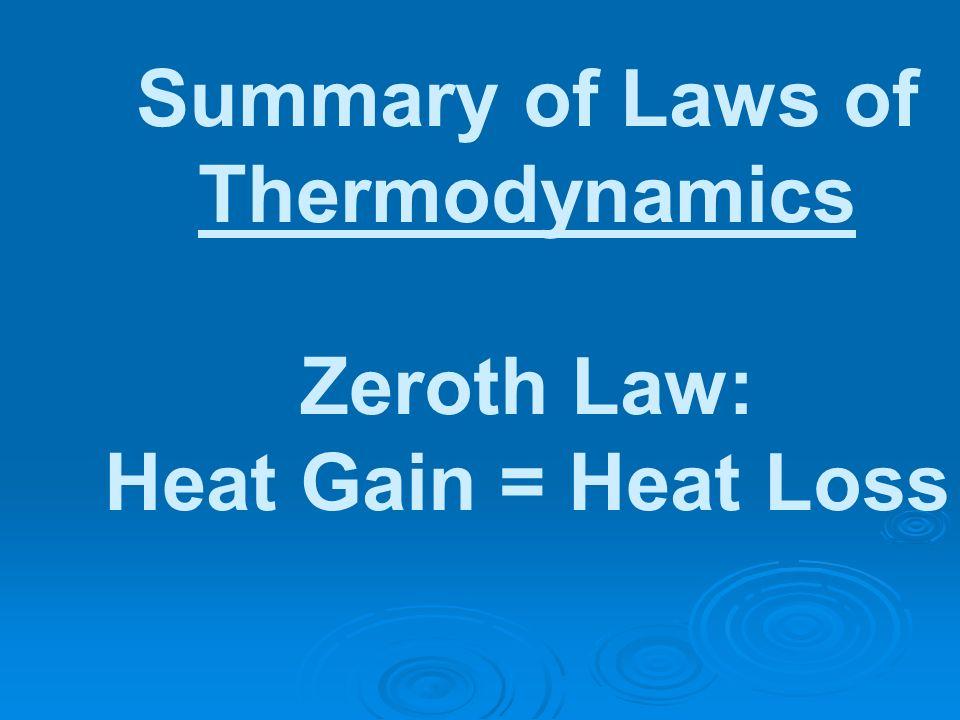 Summary of Laws of Thermodynamics Zeroth Law: Heat Gain = Heat Loss