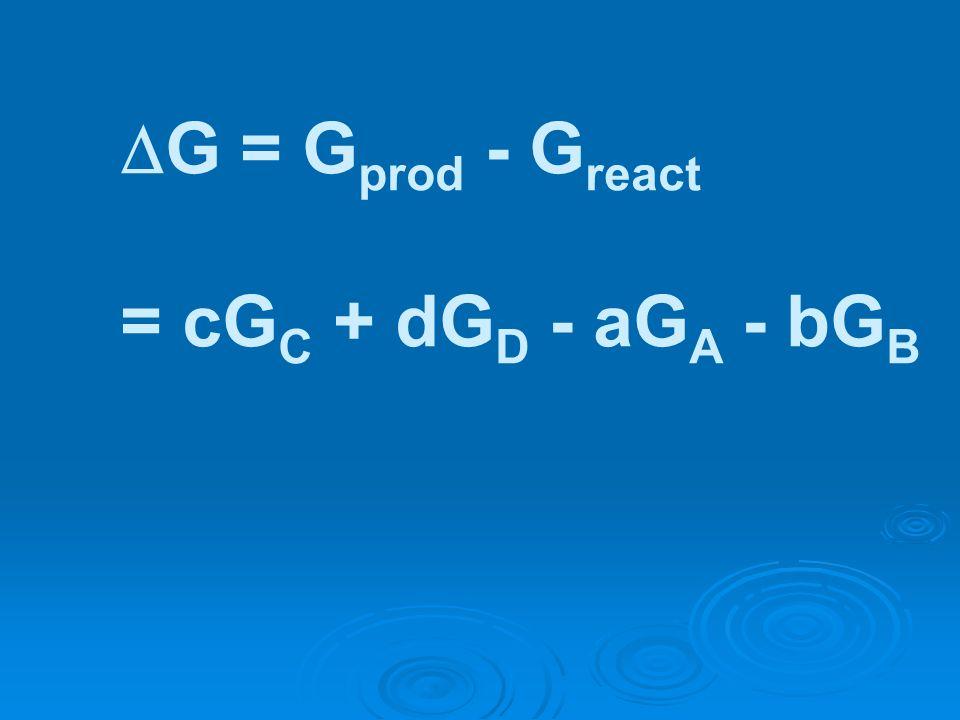 G = G prod - G react = cG C + dG D - aG A - bG B