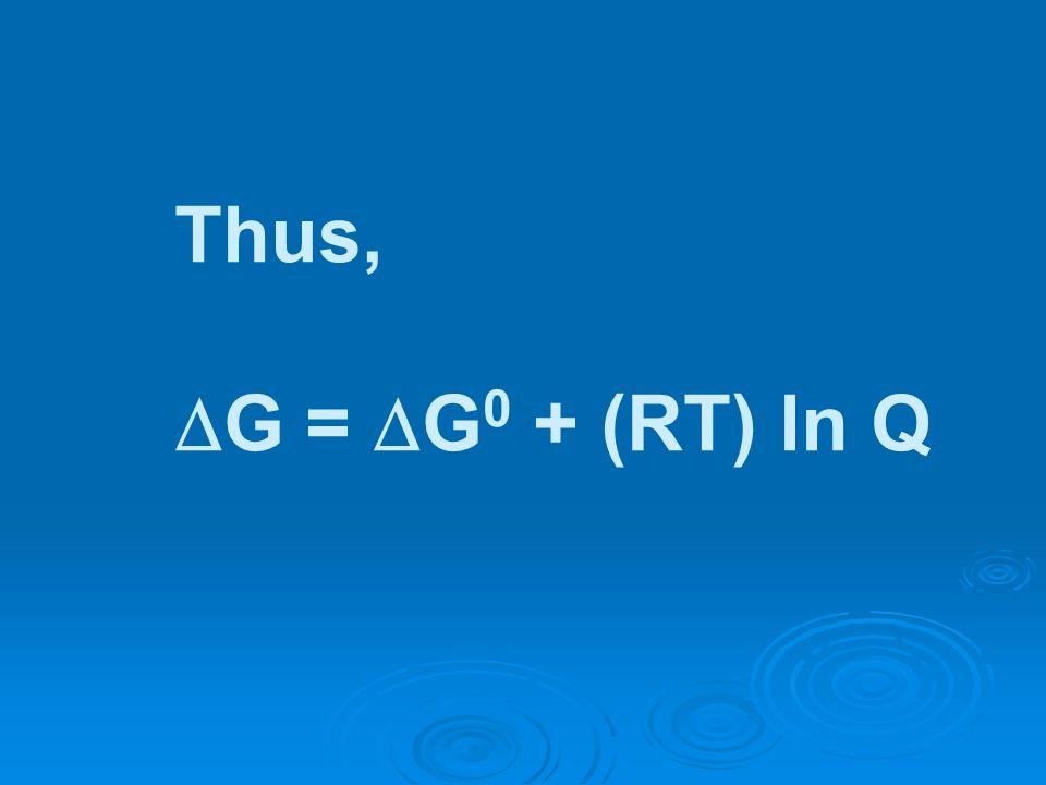 Thus, G = G 0 + (RT) ln Q