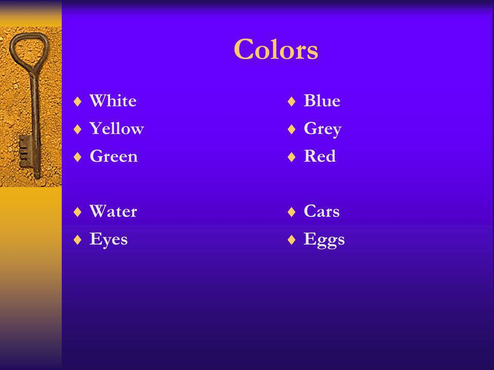 Colors White Yellow Green Water Eyes Blue Grey Red Cars Eggs