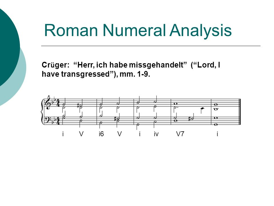 Roman Numeral Analysis Cr ü ger: Herr, ich habe missgehandelt (Lord, I have transgressed), mm. 1-9. i V i6 V i iv V7 i