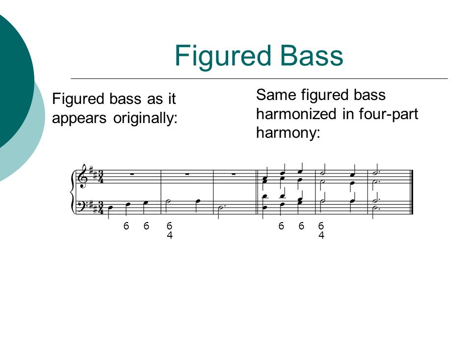 Figured Bass 6 6 6 6 6 6 4 4 Same figured bass harmonized in four-part harmony: Figured bass as it appears originally: