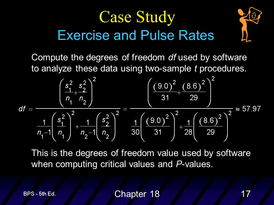 BPS - 5th Ed. Chapter 1817 Case Study Exercise and Pulse Rates Compute the degrees of freedom df used by software to analyze these data using two-samp