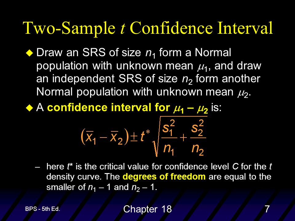 BPS - 5th Ed. Chapter 187 Two-Sample t Confidence Interval Draw an SRS of size n 1 form a Normal population with unknown mean 1, and draw an independe