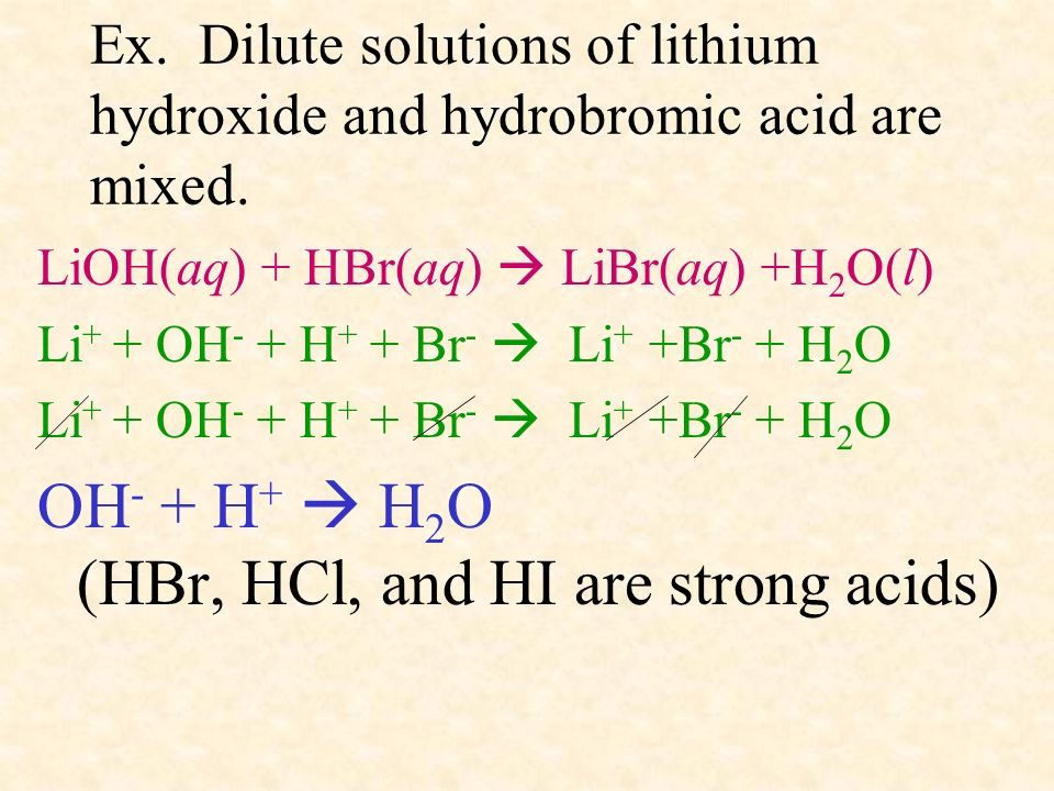 Ex. Dilute solutions of lithium hydroxide and hydrobromic acid are mixed. LiOH(aq) + HBr(aq) LiBr(aq) +H 2 O(l) Li + + OH - + H + + Br - Li + +Br - +