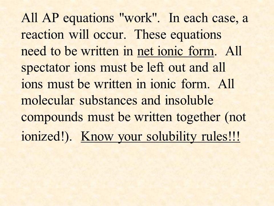 All AP equations