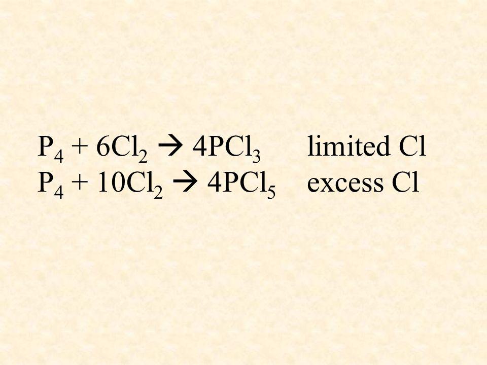 P 4 + 6Cl 2 4PCl 3 limited Cl P 4 + 10Cl 2 4PCl 5 excess Cl
