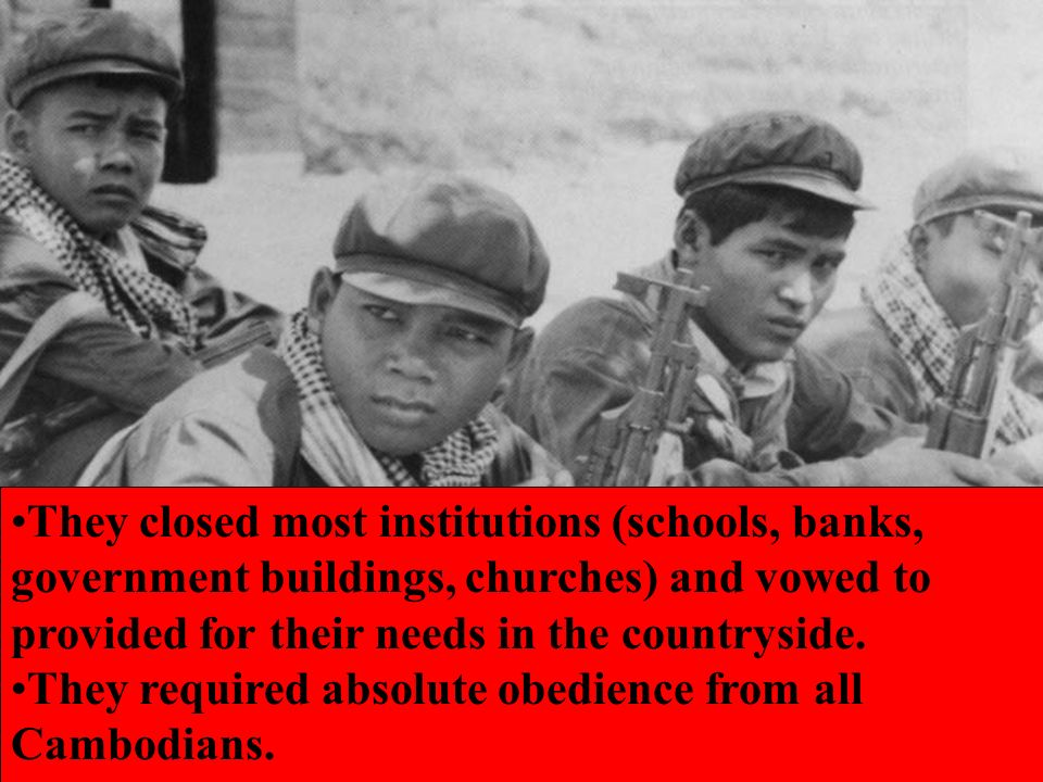 They closed most institutions (schools, banks, government buildings, churches) and vowed to provided for their needs in the countryside.