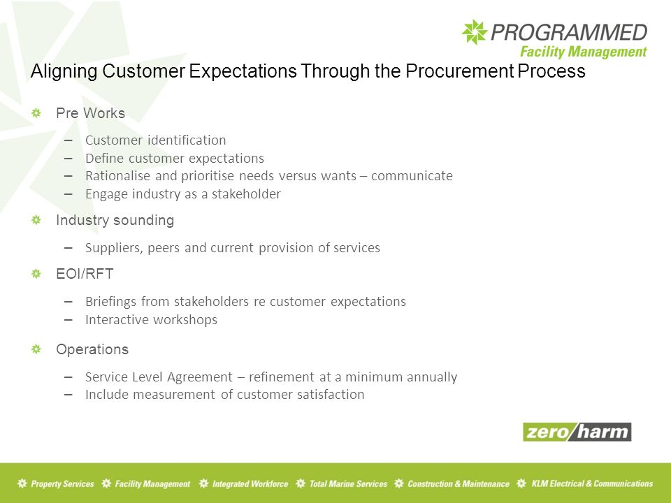 Pre Works – Customer identification – Define customer expectations – Rationalise and prioritise needs versus wants – communicate – Engage industry as a stakeholder Industry sounding – Suppliers, peers and current provision of services EOI/RFT – Briefings from stakeholders re customer expectations – Interactive workshops Operations – Service Level Agreement – refinement at a minimum annually – Include measurement of customer satisfaction