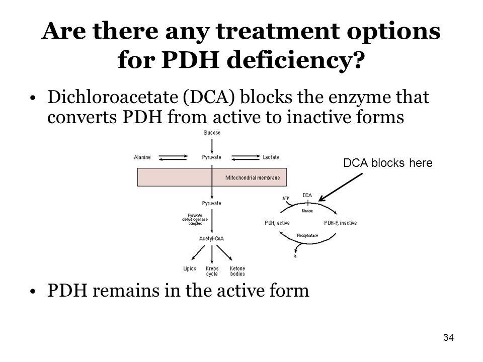 Are there any treatment options for PDH deficiency? Dichloroacetate (DCA) blocks the enzyme that converts PDH from active to inactive forms PDH remain